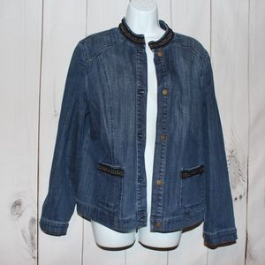 Chico's Denim Jacket Womens 12 or 2 chico